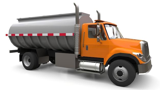 Grote oranje tankwagen met gepolijste metalen aanhanger. uitzicht van alle kanten. 3d-afbeelding.