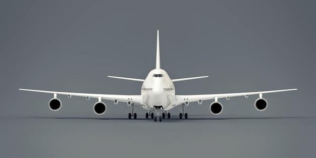 Grote passagiersvliegtuigen met een grote capaciteit voor lange transatlantische vluchten. wit vliegtuig op grijze geïsoleerde achtergrond. 3d-afbeelding.