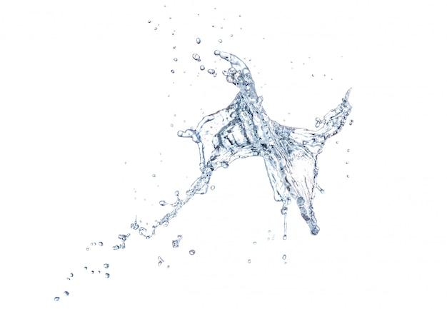 Grote plons water dat op een witte achtergrond wordt geïsoleerd