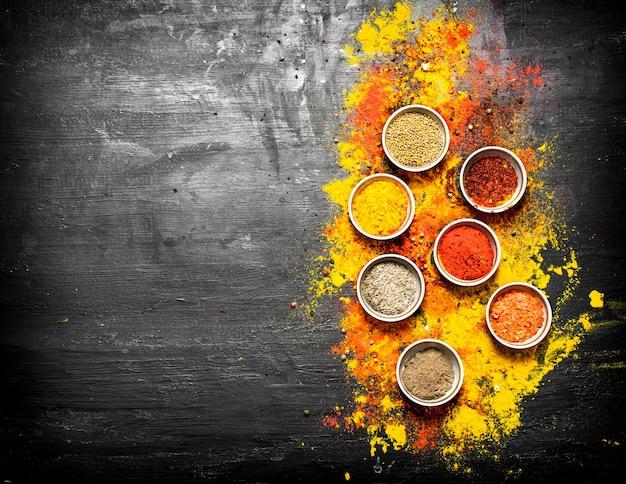 Grote reeks van gekleurde gemalen specerijen en kruiden