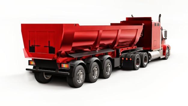 Grote rode amerikaanse vrachtwagen met een aanhangwagentype dumptruck op witte achtergrond