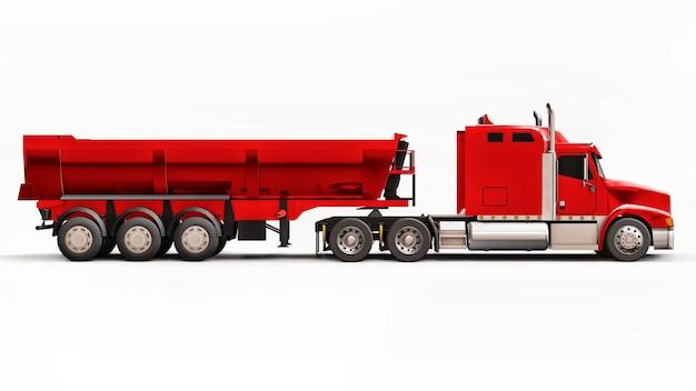 Grote rode amerikaanse vrachtwagen met een kiepwagen van het type aanhangwagen voor het vervoer van bulklading op een witte ondergrond