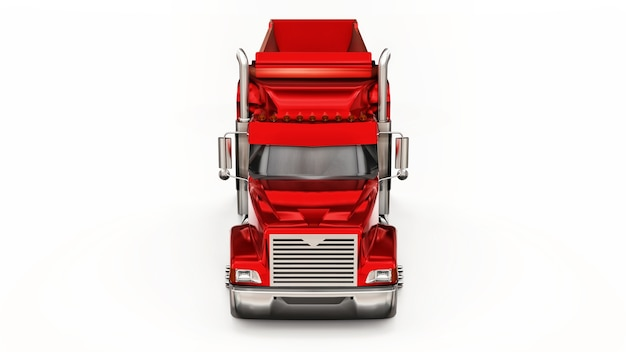 Grote rode amerikaanse vrachtwagen met een vrachtwagen met aanhangertype voor het vervoer van bulklading 3d illustratie