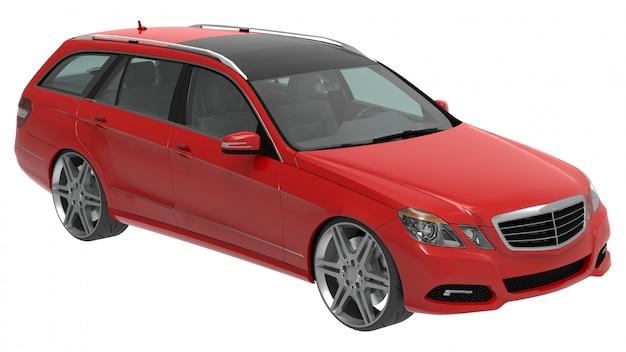 Grote rode familiebedrijfsauto met sportief en tegelijkertijd comfortabel rijgedrag