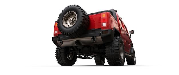 Grote rode off-road pick-up voor platteland of expedities op witte geïsoleerde achtergrond. 3d illustratie.