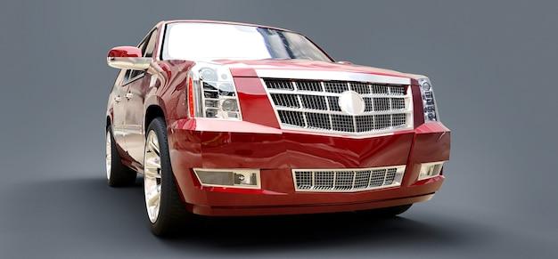 Grote rode premium suv op een grijze achtergrond. 3d-rendering.