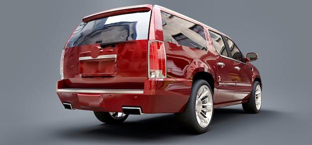 Grote rode premium suv op een grijze achtergrond. 3d-weergave