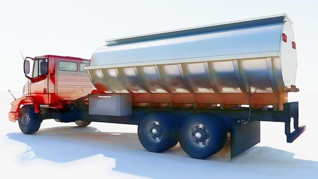 Grote rode tankwagen met een gepolijste metalen aanhanger. uitzicht van alle kanten. 3d illustratie.