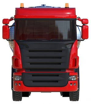 Grote rode tankwagen met gepolijste metalen trailer. uitzicht van alle kanten. 3d-weergave