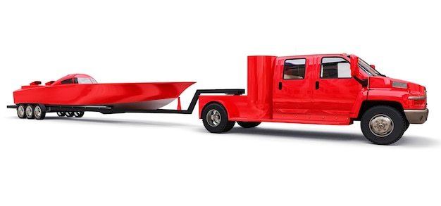 Grote rode vrachtwagen met aanhanger voor het vervoer van een raceboot op een witte achtergrond. 3d-weergave.