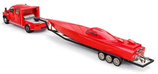 Grote rode vrachtwagen met een aanhanger voor het vervoer van een raceboot op een witte achtergrond. 3d-rendering.