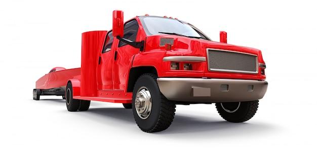 Grote rode vrachtwagen met een aanhangwagen voor het vervoeren van een raceboot op een witte achtergrond. 3d-weergave