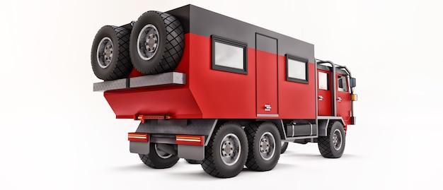 Grote rode vrachtwagen voorbereid op lange en uitdagende expedities in afgelegen gebieden. vrachtwagen met een huis op wielen. 3d illustratie.
