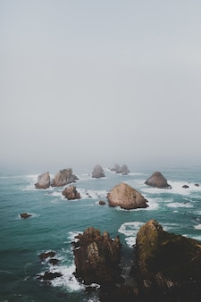 Grote rotsen in nugget point ahuriri, nieuw-zeeland met een mistige achtergrond