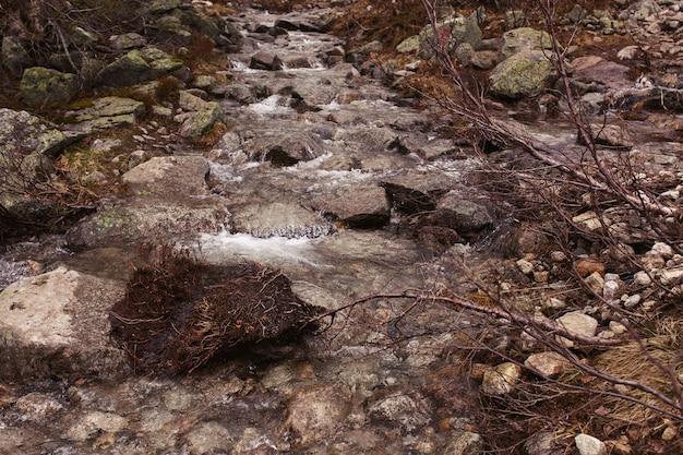 Grote rotsen liggen ergens in de bergen op de rivier