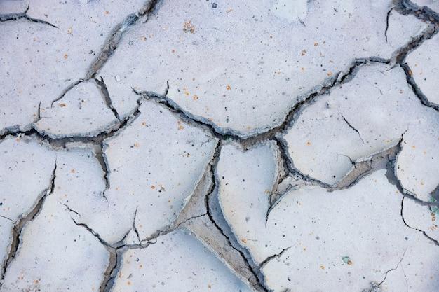 Grote scheuren in de grond bij droge watermassa's in het droge seizoen.