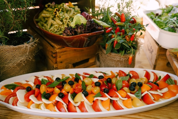 Grote schotel met tomaat en caprese mozzarella kaassnack op tafel met saladeschaal en hot