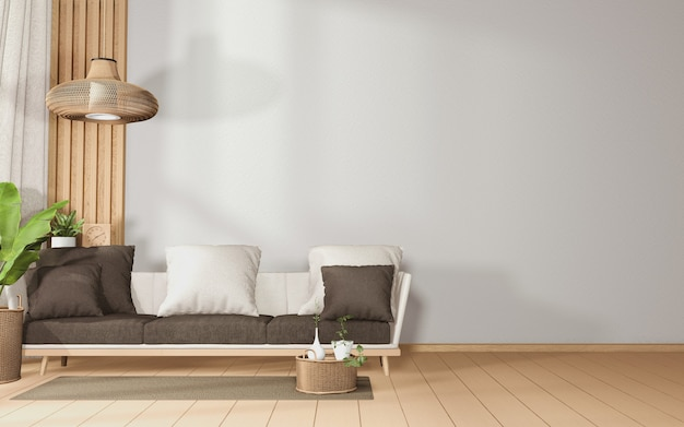 Grote sofa in een ruime kamer tropisch interieur met sofa en planten decoratie op houten floor.3d rendering