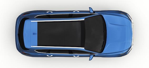 Grote stad crossover blauwe kleur op een witte achtergrond. 3d-rendering.