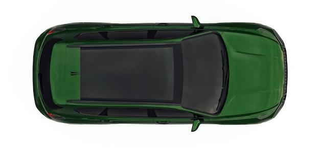 Grote stad crossover groene kleur op een witte achtergrond. 3d-rendering.