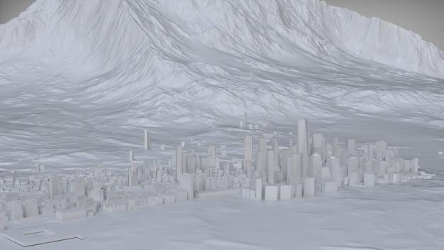 Grote stad in het bovenaanzicht van de bergen. illustratie in casual grafisch ontwerp. fragmenten new york