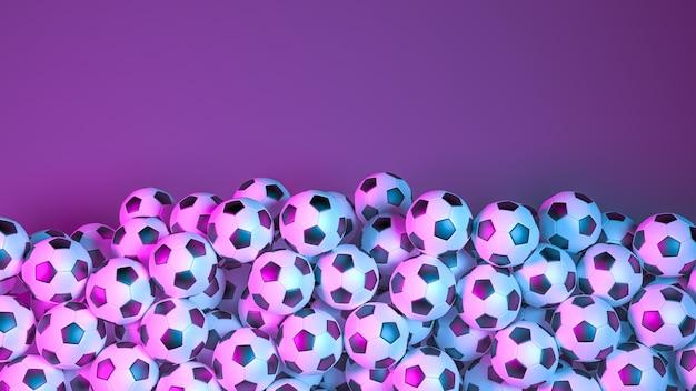 Grote stapel voetballen in neonlicht
