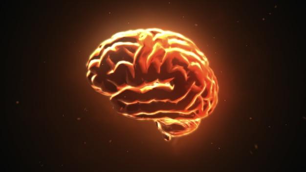 Grote sterke hersenen pulserend in oranje