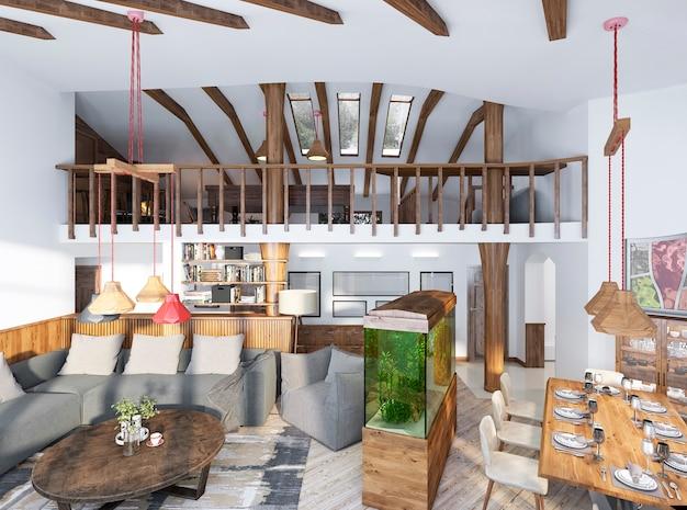 Grote studio in loftstijl met houten meubels en elementen