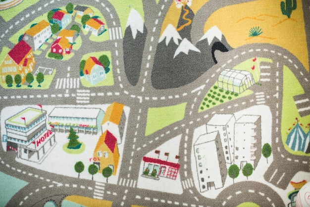 Grote tapijt met huizen en wegen