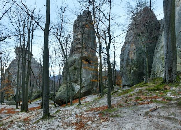 Grote verheven steen in herfstbos skeli dovbusha, ivano frankovsk region