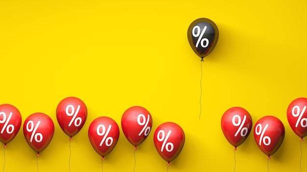 Grote verkoop ballonnen met procentsymbool rode en zwarte ballonnen black friday kopieer ruimte voor tekst