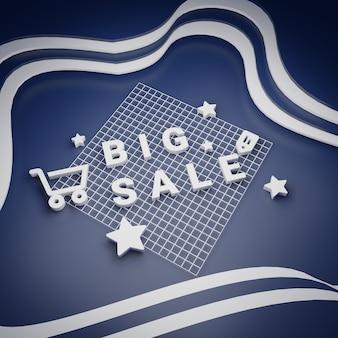 Grote verkoop en speciale aanbieding shopping concept rendering Premium Foto