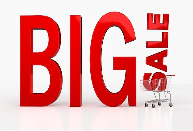 Grote verkoopbrieven in winkelwagen op wit. 3d render