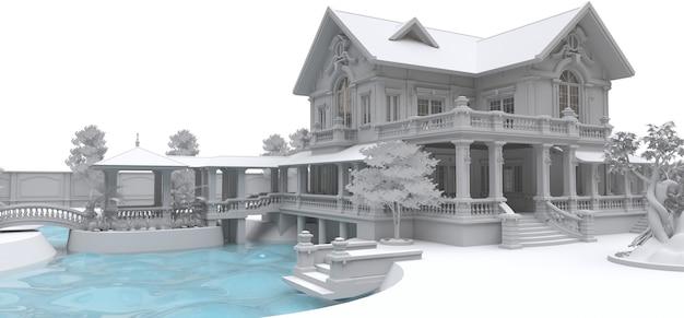 Grote villa in aziatische stijl met tuin, zwembad en tennisbaan. het gebouw en het territorium in contourlijnen met zachte verspreide schaduwen. 3d-afbeelding