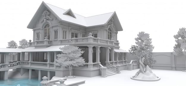 Grote villa in aziatische stijl met tuin, zwembad en tennisbaan. het gebouw en het territorium met zachte verspreide schaduwen. 3d-afbeelding.
