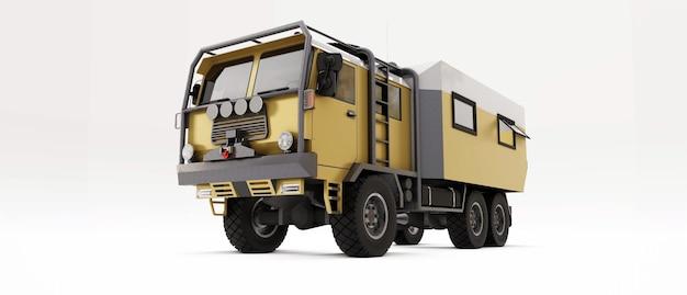 Grote vrachtwagen voorbereid op lange en moeilijke expedities in afgelegen gebieden. truck met huis op wielen. 3d-afbeelding.