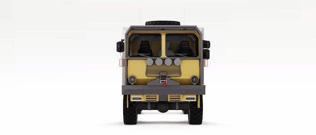 Grote vrachtwagen voorbereid op lange en moeilijke expedities in afgelegen gebieden. vrachtwagen met een huis op wielen. 3d illustratie.