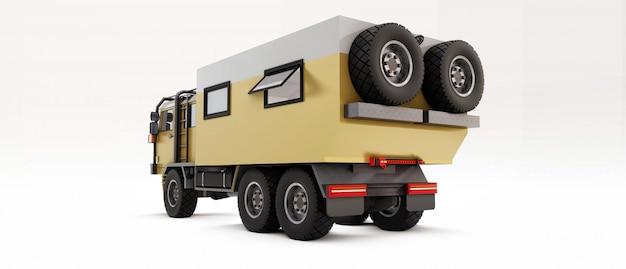 Grote vrachtwagen voorbereid op lange en moeilijke expedities in afgelegen gebieden