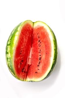 Grote watermeloen en segment geïsoleerd als pakket design element