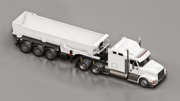 Grote witte amerikaanse vrachtwagen met een dumptruck van het trailertype voor het vervoer van bulklading op een grijze achtergrond. 3d illustratie.