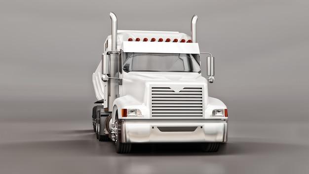 Grote witte amerikaanse vrachtwagen met een kiepwagen van het type aanhangwagen voor het vervoer van bulklading op een grijze achtergrond. 3d-afbeelding.