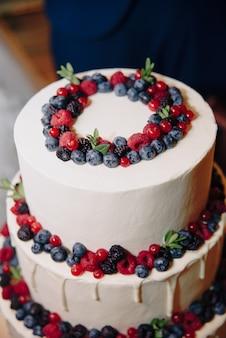 Grote witte cake met verse bessen