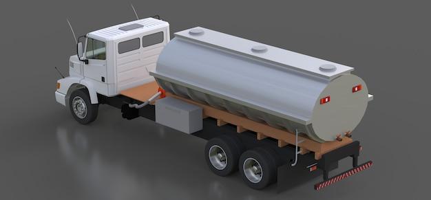 Grote witte tankwagen met aanhanger van gepolijst metaal. uitzicht van alle kanten. 3d-afbeelding.