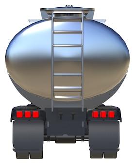 Grote witte tankwagen met een gepolijste metalen aanhanger. uitzicht van alle kanten. 3d illustratie.