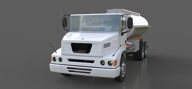 Grote witte tankwagen met een gepolijste metalen oplegger. uitzicht van alle kanten. 3d-afbeelding.