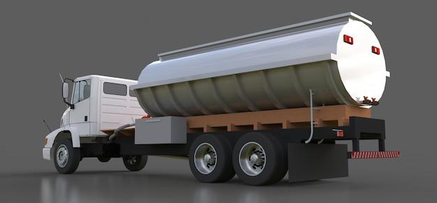 Grote witte tankwagen met gepolijste metalen aanhangwagen. uitzicht van alle kanten. 3d-weergave