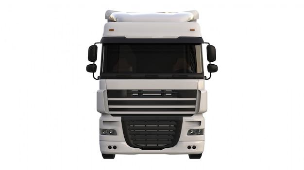 Grote witte vrachtwagen met een oplegger. sjabloon voor het plaatsen van afbeeldingen. 3d-weergave