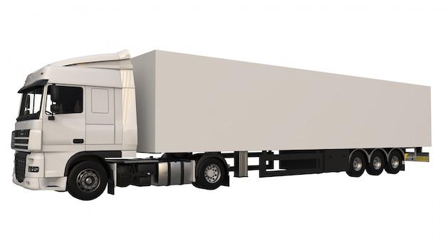 Grote witte vrachtwagen met een oplegger