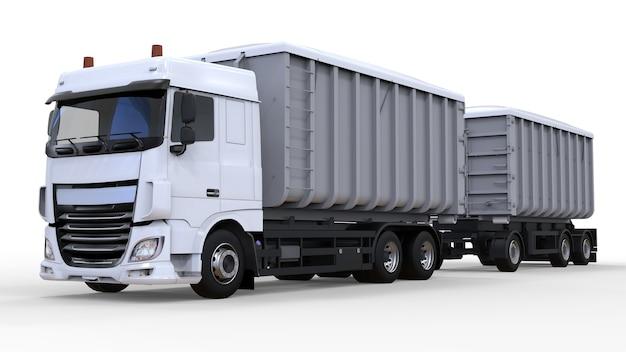 Grote witte vrachtwagen met losse aanhanger, voor het vervoer van agrarische en bouwbulkmaterialen en producten. 3d-rendering.