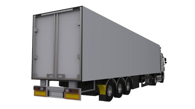 Grote witte vrachtwagen met oplegger. sjabloon voor het plaatsen van afbeeldingen. 3d-weergave.